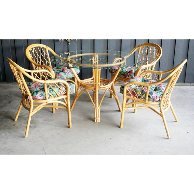 1980s Boho Chic Diamond Pattern Rattan Dining Set With 4 Armchairs, Set of 5 For Sale - Image 5 of 13