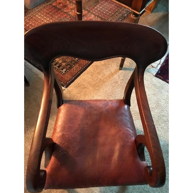 1940s Vintage English Wood Frame and Leather Chair For Sale - Image 9 of 10