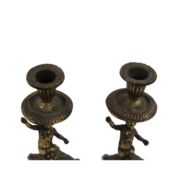 Pasargad DC Vintage French Bronze Sculptures Candle Holders - a Pair For Sale - Image 4 of 5