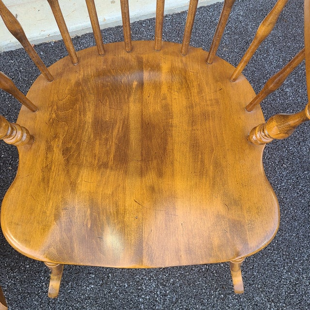 Ethan Allen Ethan Allen Circa 1776 Solid Maple Bowback Windsor Rocking Chairs - a Pair For Sale - Image 4 of 13
