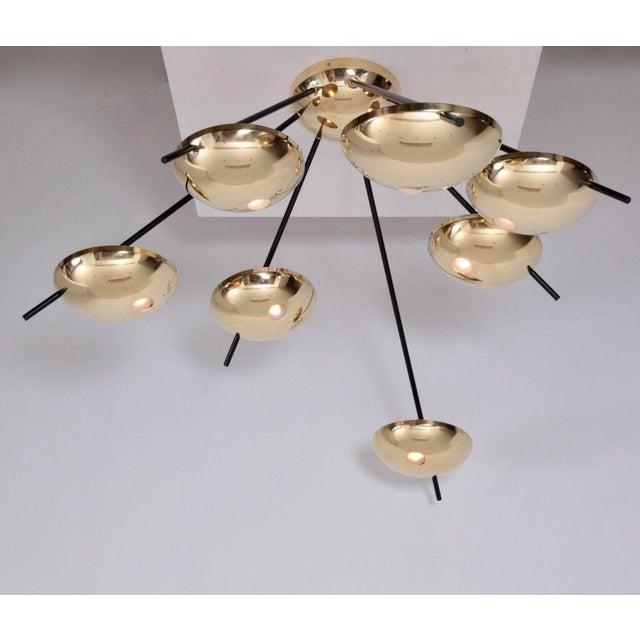 Gold 1 of 2 Huge Brass Sputnik Flush Mounts or Wall Lamps Attributed to Stilnovo For Sale - Image 8 of 8