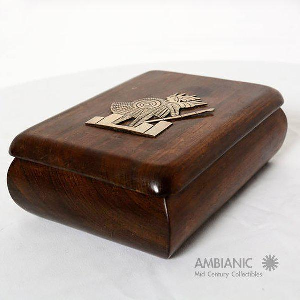 Wood Mahogany With Silver Emblem Jewelry Box For Sale - Image 7 of 10