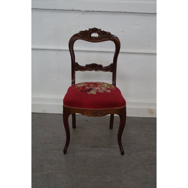 Antique Victorian Walnut Side Chair - Image 2 of 10