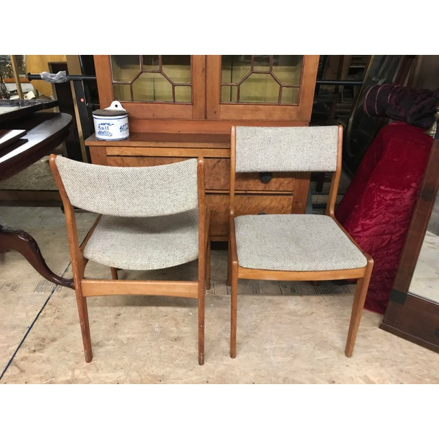 Mid-Century Modern Vintage Mid Century Danish Modern Oak Chairs- A Pair For Sale - Image 3 of 4