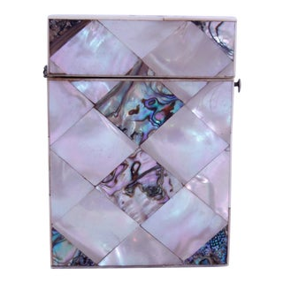 Mother of Pearl and Abalone Diamond Pattern Marquetry Card Case For Sale