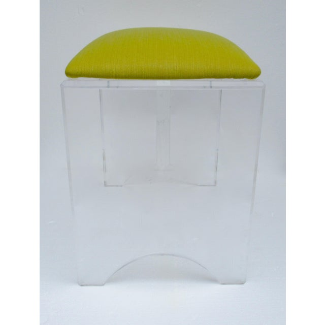 Green Vintage Mid-Century Lucite Bench With Sunbrella Indoor/Outdoor Textile For Sale - Image 8 of 13