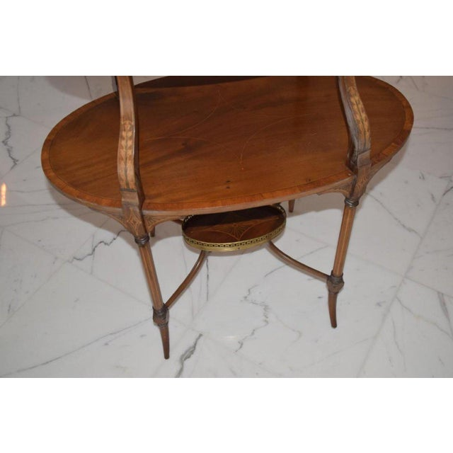 Edwardian Antique English Mahogany Inlaid Three-Tiered Serving Table - Bottom Tier For Sale - Image 3 of 5
