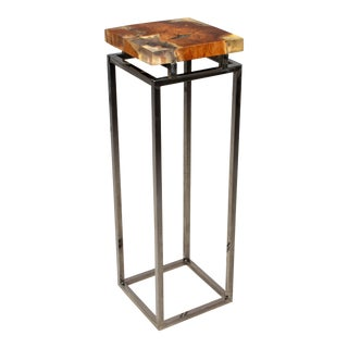 Contemporary Wood & Resin Chrome Pedestal Table For Sale