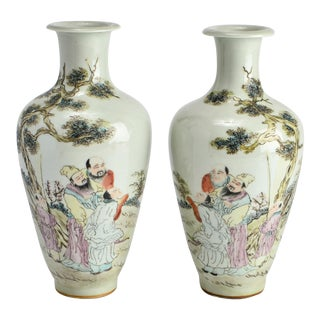 Chinese Porcelain Baluster Vases with Scholars - a Pair For Sale