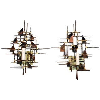 1970's Hand-Forged Brutalist Sconces by Silas Seandel - A Pair For Sale