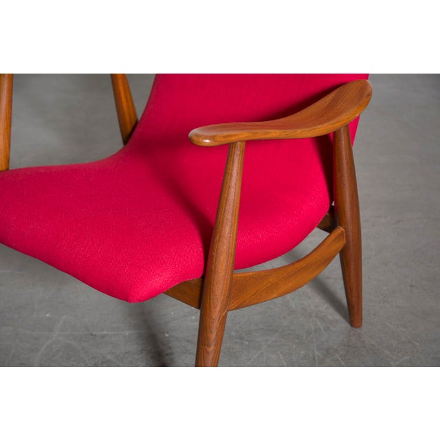 Mid-Century Magenta Upholstery Teak Lounge Chair - Image 9 of 10