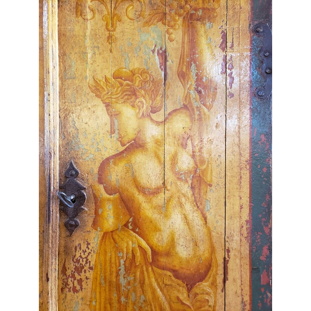 2000 - 2009 Rustic Hand Painted Arch Top Armoire For Sale - Image 5 of 13