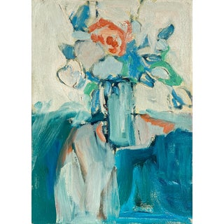 'Bouquet in Blue', Post-Impressionist Oil Still Life, Carmel, Circa 1965 For Sale