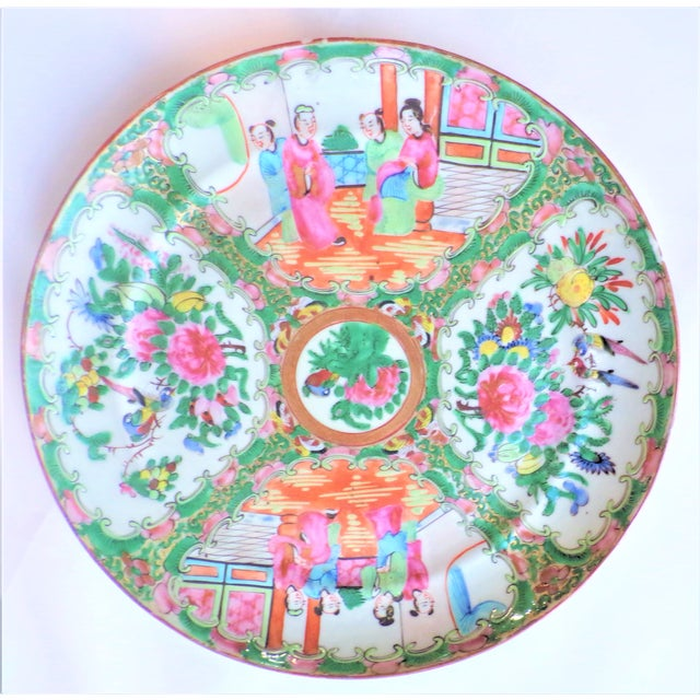 Japanese Vintage Rose Famille Medallion Chinoiseries Plate For Sale - Image 3 of 7