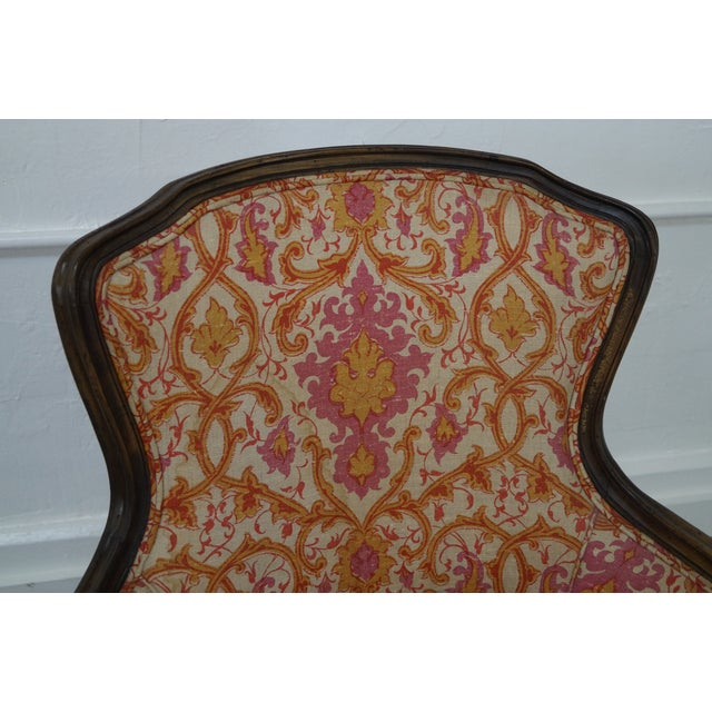 French Louis XV Vintage Red Bergere Chairs - Pair - Image 8 of 10