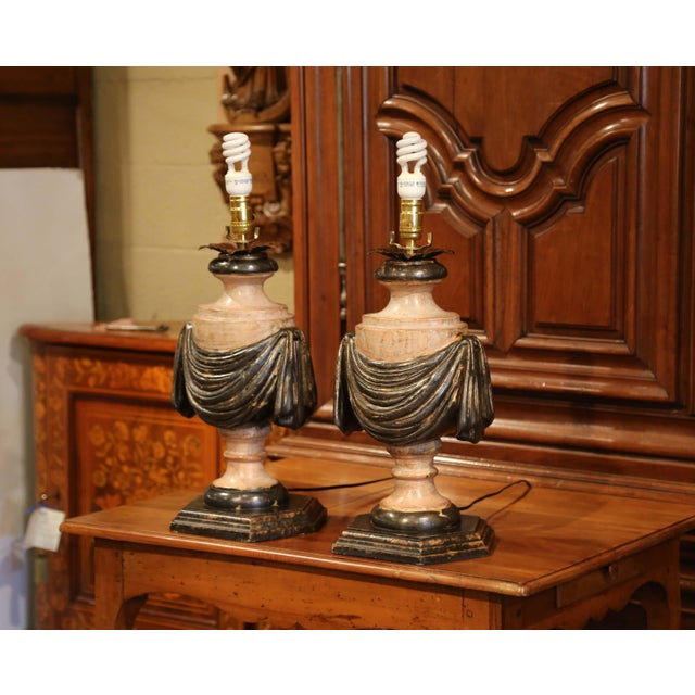Silver Pair of Italian Carved Lamp Bases With Polychrome Antique Painted Finish For Sale - Image 8 of 12