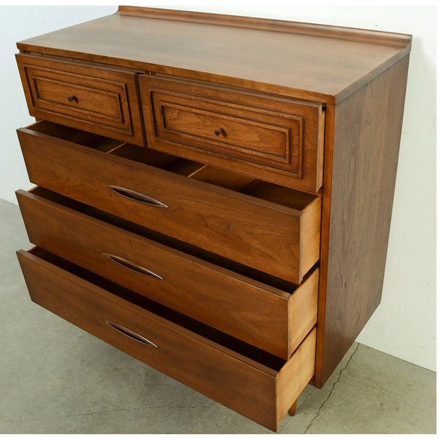 Wood Vintage Mid Century Modern Walnut Highboy Chest Broyhill For Sale - Image 7 of 8