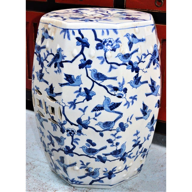 Chinoiserie Chinoiserie Blue and White Porcelain Garden Stool With Birds For Sale - Image 3 of 5