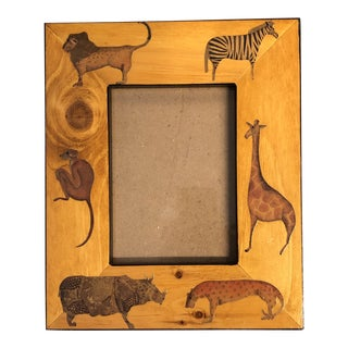 Vintage Hand Made Jungle Animal Picture Frame5.5 X 7.5 For Sale