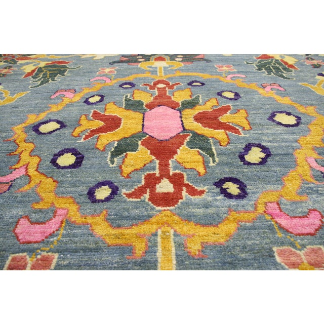 New Colorful Turkish Oushak Rug With Modern Contemporary Style For Sale - Image 4 of 6