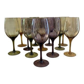 Vintage Assorted Amethyst, Amber and Olive Hand Blown Optic Goblets Stemware - Set of 12 For Sale