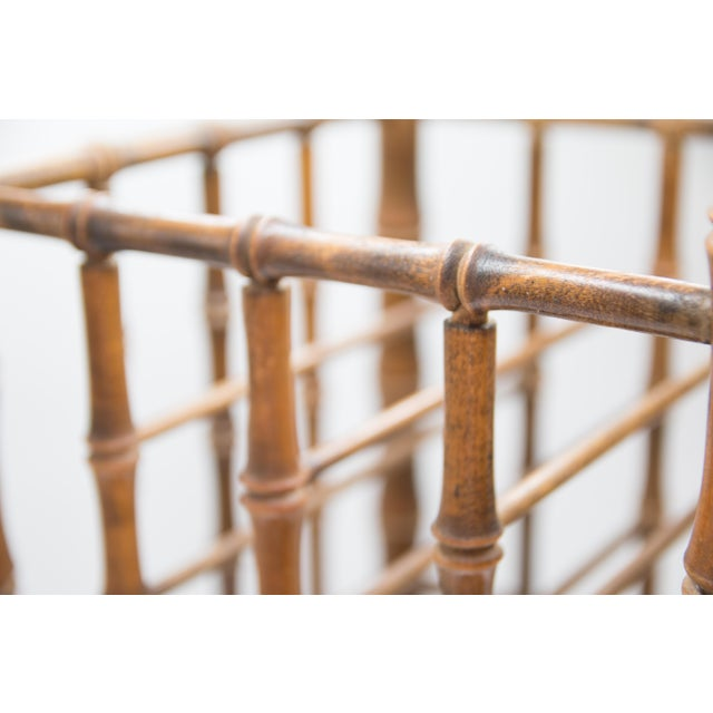 Mid 20th Century Tall Vintage Mid-Century Faux Bamboo Tiered Magazine Rack For Sale - Image 5 of 8