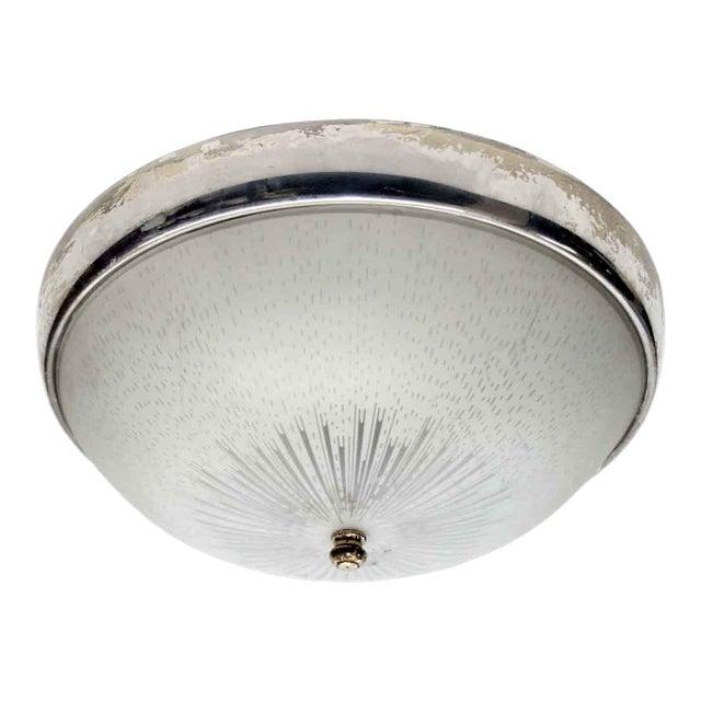 1950s Original Flush Mount Light With Nickel Trim For Sale