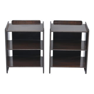 Dark Walnut Side Tables With Two Open Shelves - a Pair For Sale