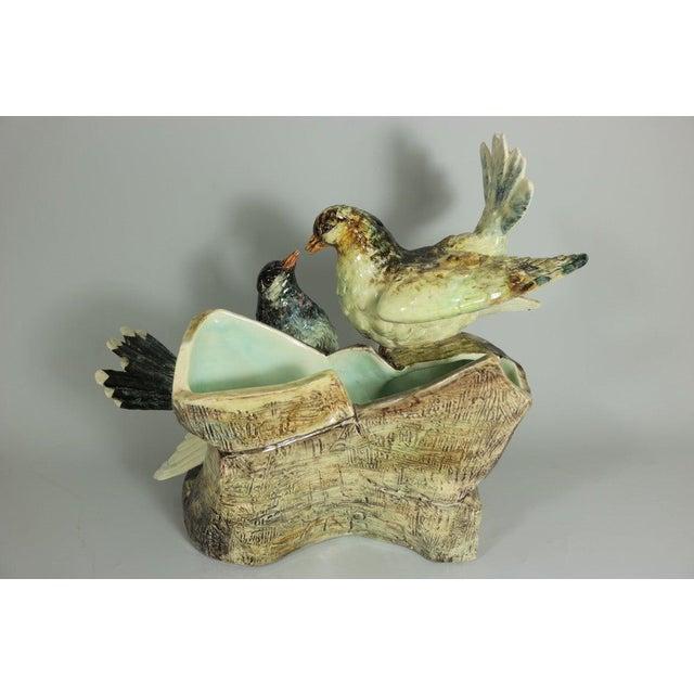 Victorian Early 20th Century Delphin Massier Majolica Figural Dove Vase For Sale - Image 3 of 11