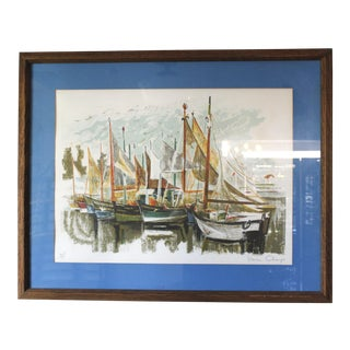 Vintage Simon Chaye Framed Lithograph Sailboats Signed Mid Century For Sale