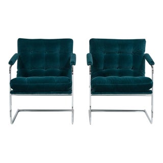 Pair of Chromium Steel Framed Cantilevered Armchairs 1960s