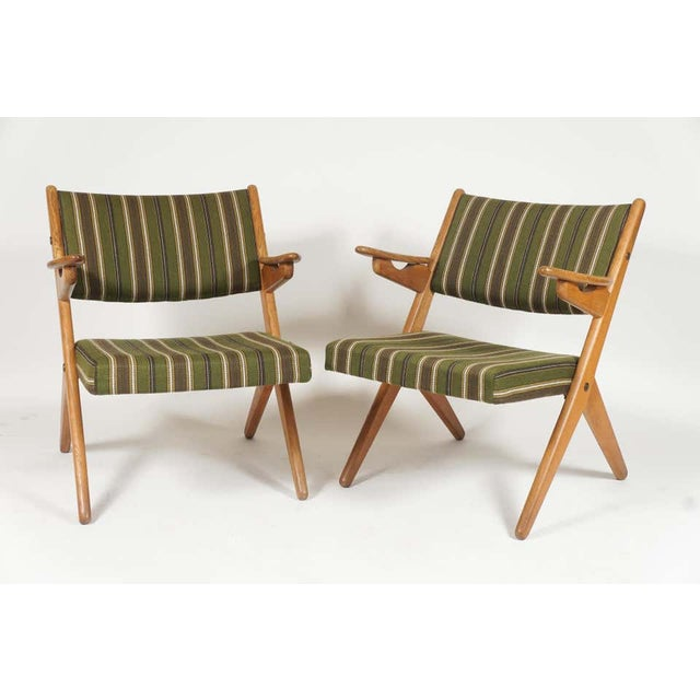 Pair Scandinavian Modern Scissor or Sawbuck Arm Chairs in Manner of Hans Wegner or Folke Ohlsson For Sale - Image 11 of 11