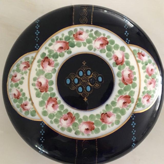 French Antique Cobalt Blue French Porcelain Dresser Box For Sale - Image 3 of 12