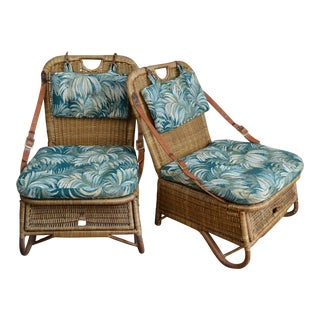 Vintage Folding Wicker Creel Fishing Seats-A Pair