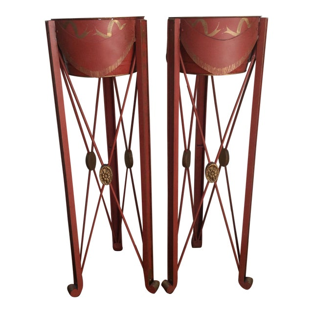 Painted Tole & Bronze Plant Stands - A Pair For Sale