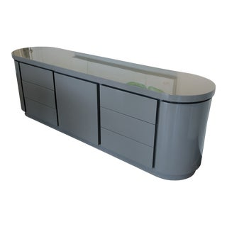 Contemporary Grey Lacquer Credenza For Sale