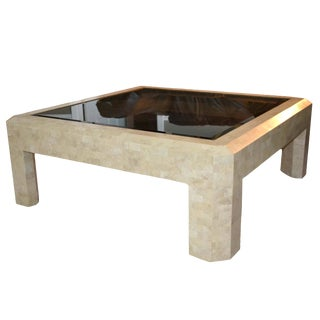 Modernist Maitland Smith Tessellated Stone and Glass Square Coffee Table For Sale