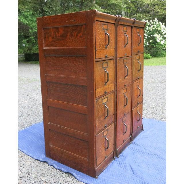 Rustic Antique Globe Oak File Cabinets - Set of 3 For Sale - Image 3 of 13
