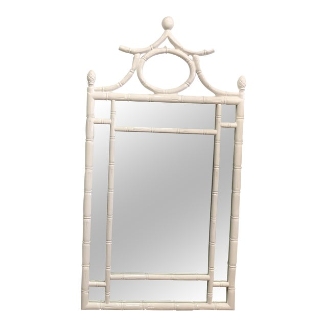 Vintage Hollywood Regency White Lacquered Faux Bamboo Pagoda Wall Mirror For Sale