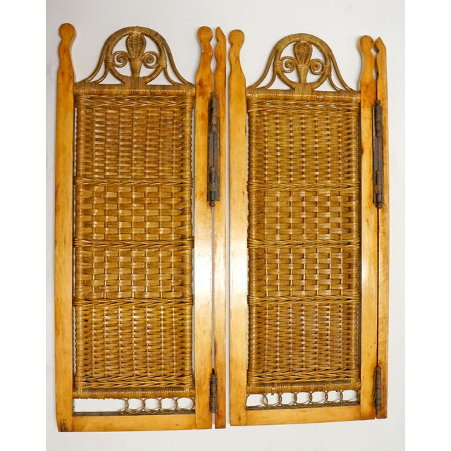 Boho Chic Vintage Mid Century Wicker Shutters- Set of 4 For Sale - Image 3 of 7