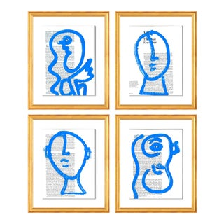 Blue Portraits 4pc Set by Virginia Chamlee in Gold Frame, Small Art Print For Sale