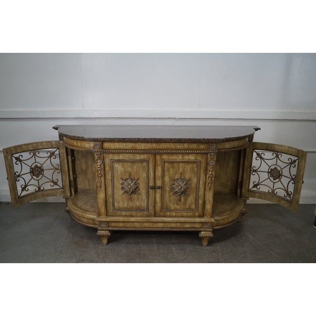 Faux Painted French Style Marble-Top Sideboard with Iron Doors - Image 6 of 10