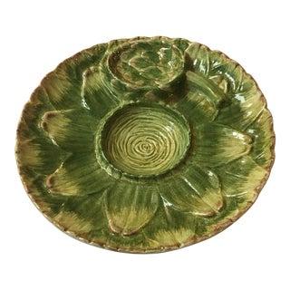Vintage Majolica Hand Painted Artichoke Platter
