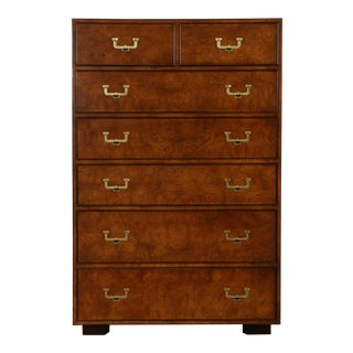 1950s Campaign John Widdicomb Highboy Dresser For Sale