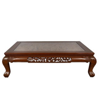 Vintage Chinese Rosewood Carved Coffee Table For Sale