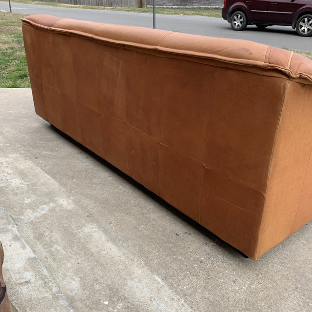 1980s Post Modern Italian Leather Sofa For Sale - Image 5 of 13