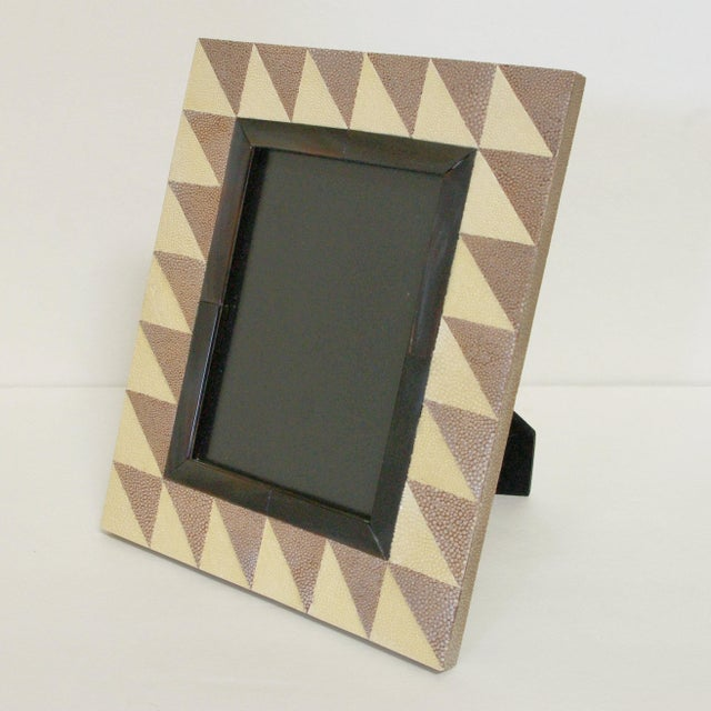 Ivory and brown shagreen and brown horn photo frame Depth: 6.5 inches / Width: 8.5 inches / Height: 9.5 inches Photo Size:...