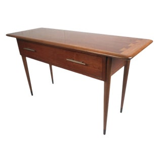 Vintage Mid Century Modern Walnut Console With Drawer For Sale