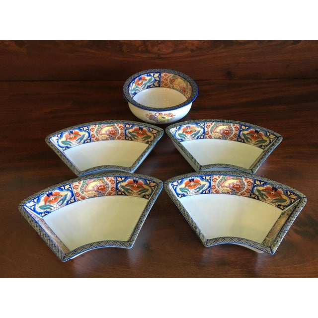 Japanese Ceramic Appetizer Serving Set of 5 For Sale In West Palm - Image 6 of 13