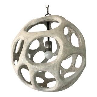 Organic Gray Resin Sphere Pendant Light For Sale